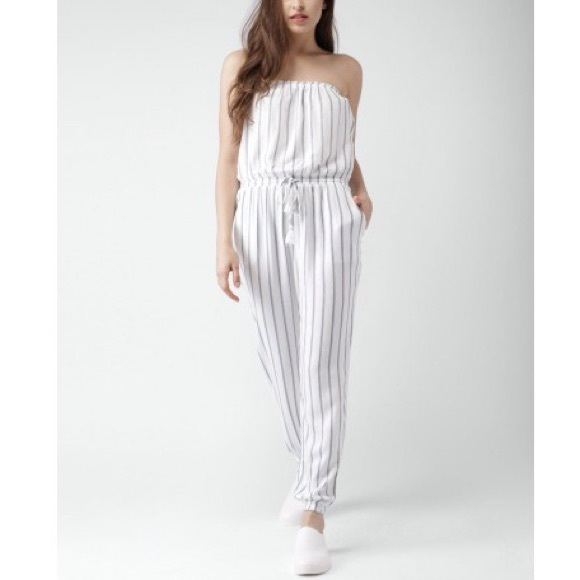 c2dd41f11df7 Forever 21 Pants - Forever21 White   Blue Rayon Striped Tube Jumpsuit